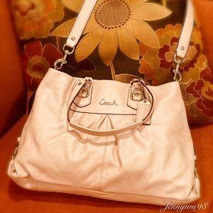 Coach light cream pink leather shoulder bag